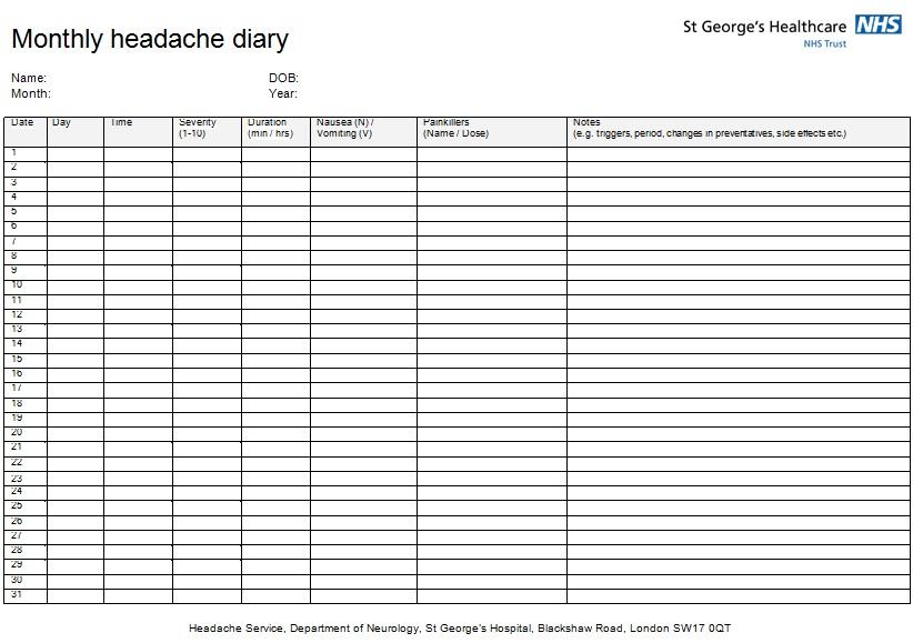 headache diary template 2
