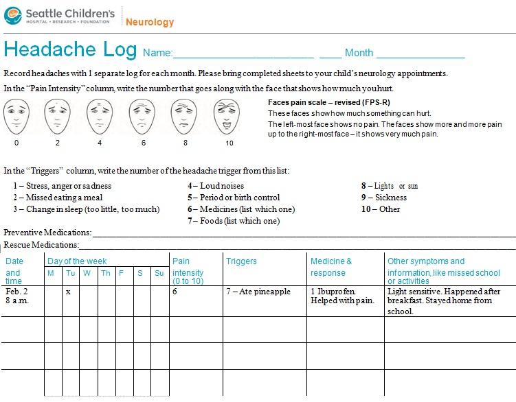 headache diary template 5