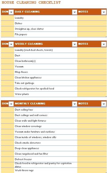 housekeeping checklist format