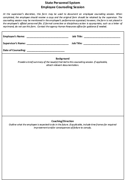 hr employee counseling form