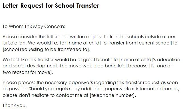 27+ Free School Transfer Request Letter Templates [Word+PDF]