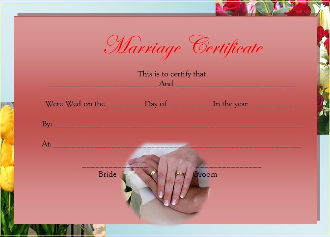 marriage certificate template 10
