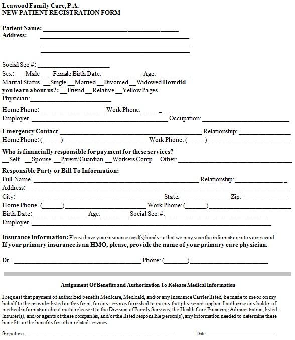 new patient registration form 8