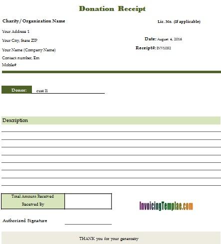 non profit donation receipt template 10