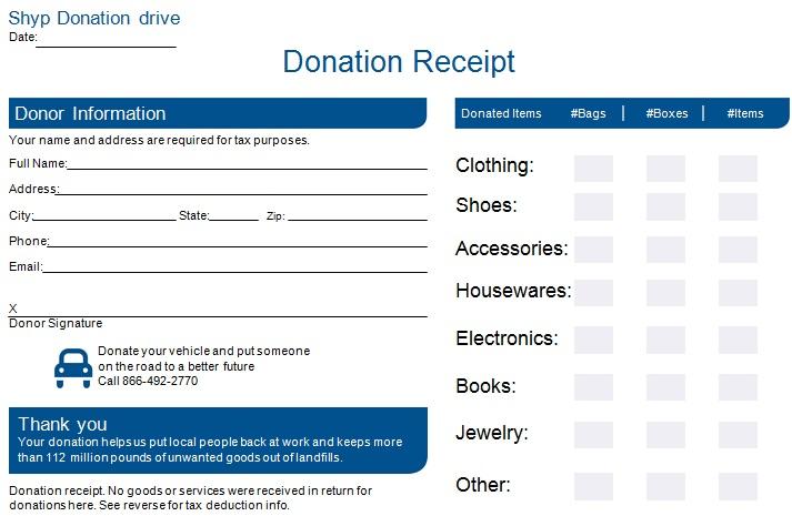 non profit donation receipt template 11
