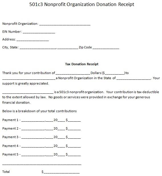 non profit donation receipt template 2