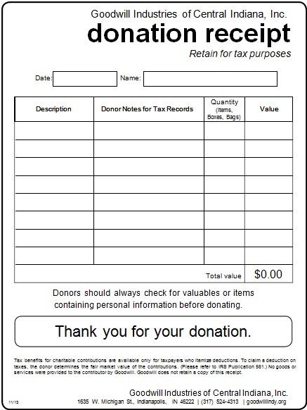 non profit donation receipt template 7