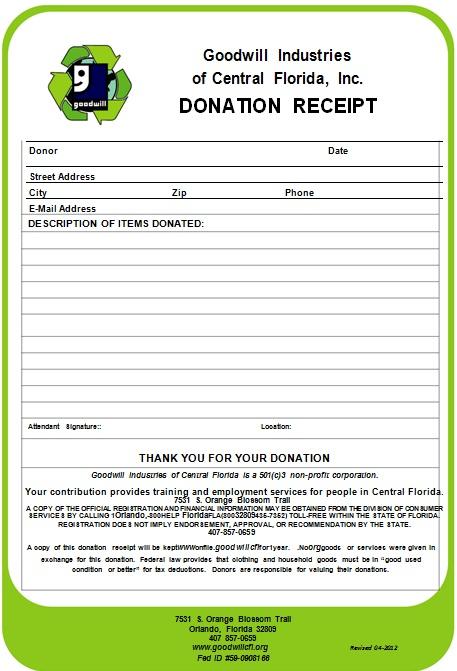 non profit donation receipt template 9