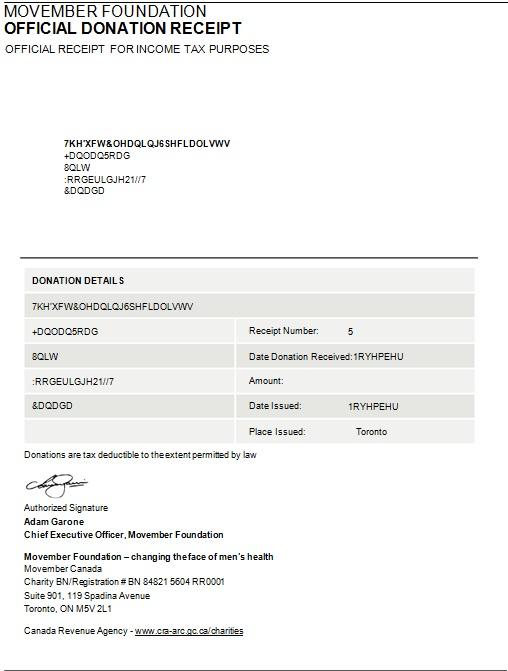 official donation receipt