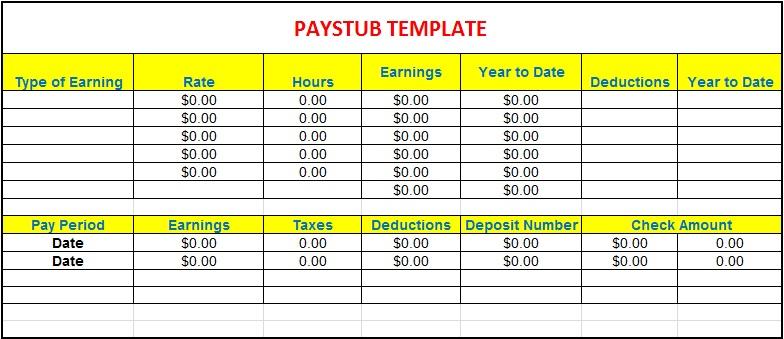 pay stub template 5