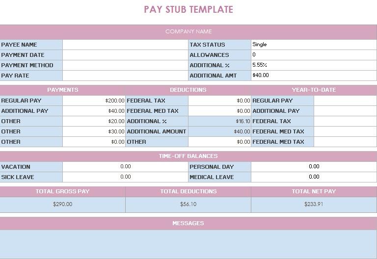 pay stub template 7