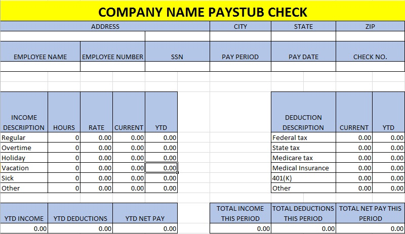 pay stub template 8