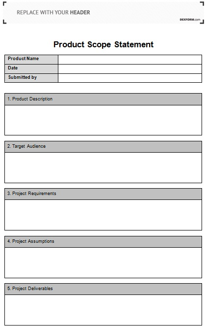 product scope statement template