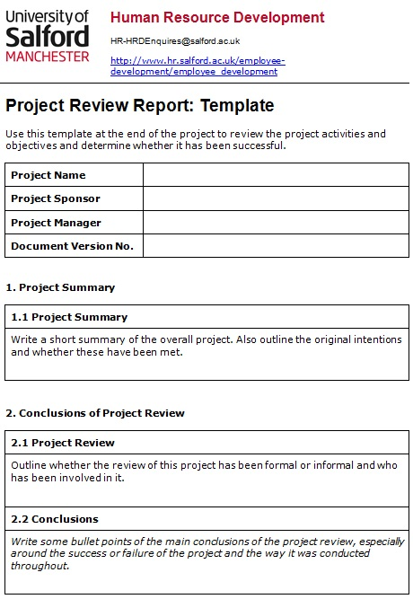 project review report template