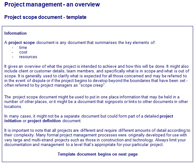 project scope document