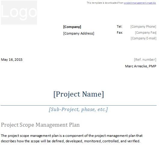 project scope management plan 2