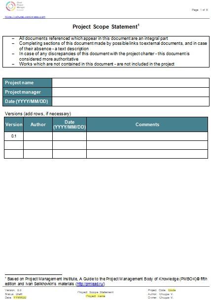 project scope statement 2