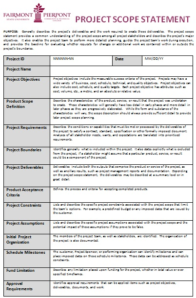 project scope statement template