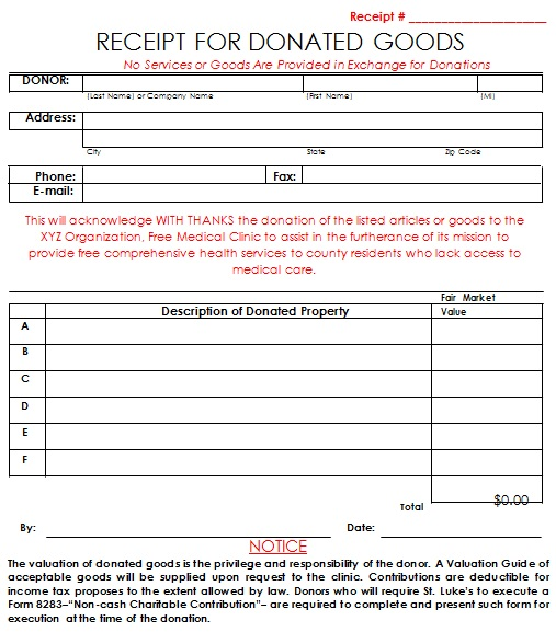 receipt for donated goods