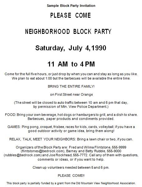 sample block party invitation