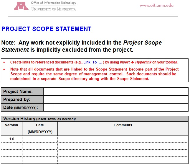 scope statement template