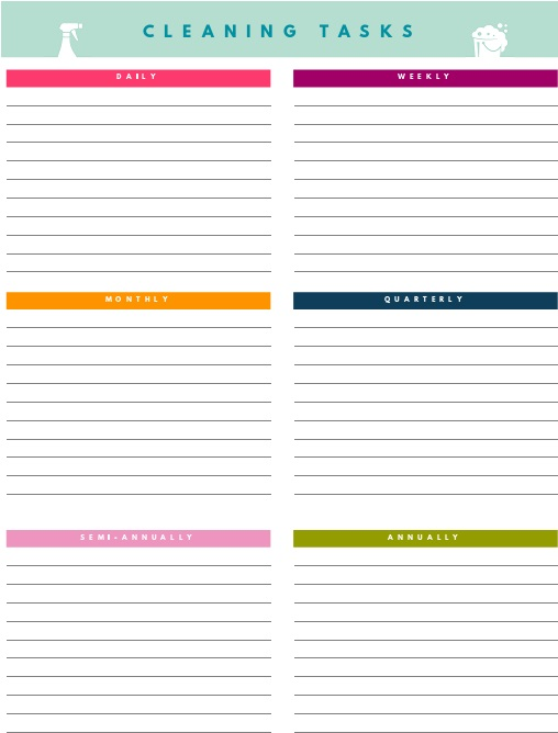 weekly cleaning list template 1