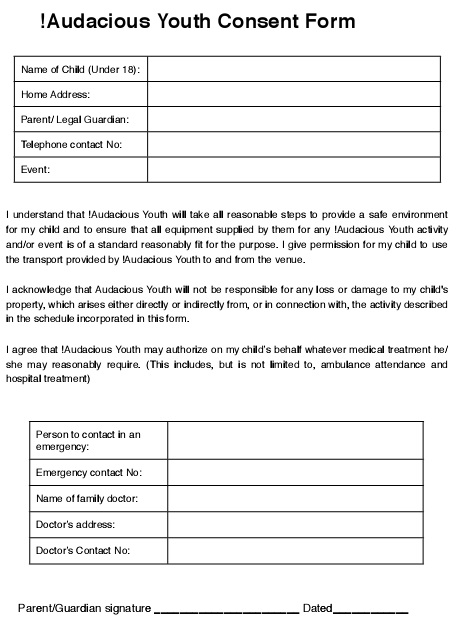 audacious youth consent form