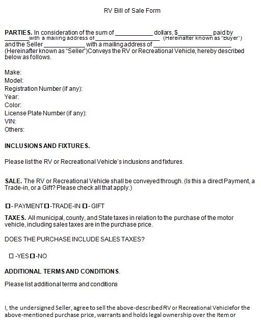 bill of sale template 2