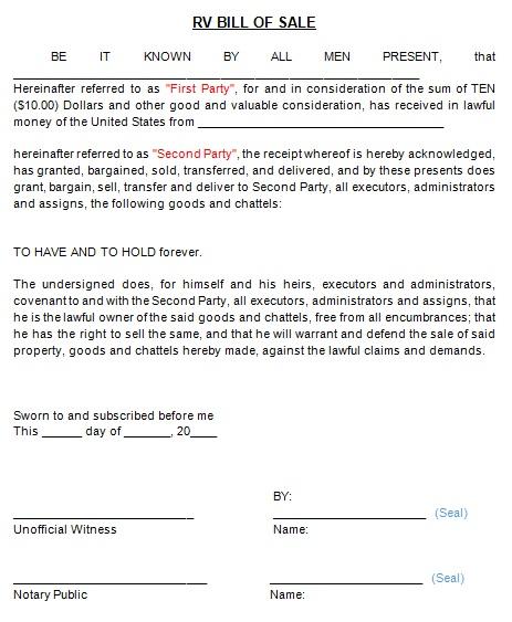 bill of sale template 20