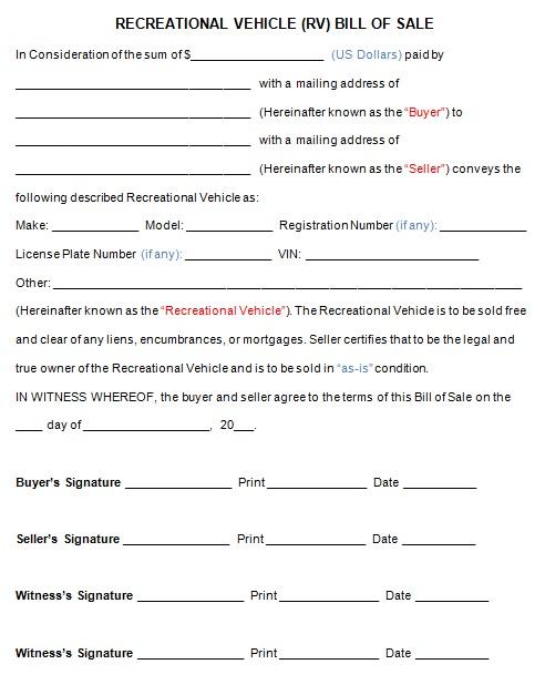 bill of sale template 4