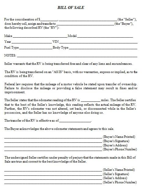 bill of sale template 5