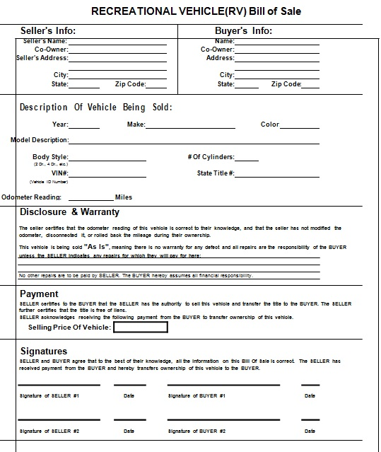 bill of sale template 7