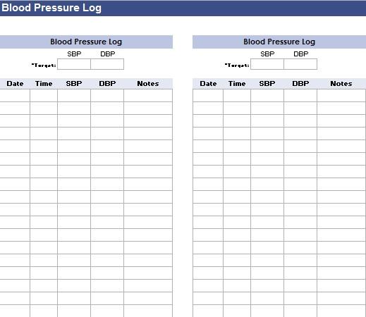 blood pressure log template 10