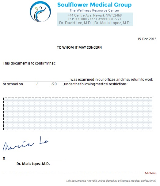 doctors note template 1