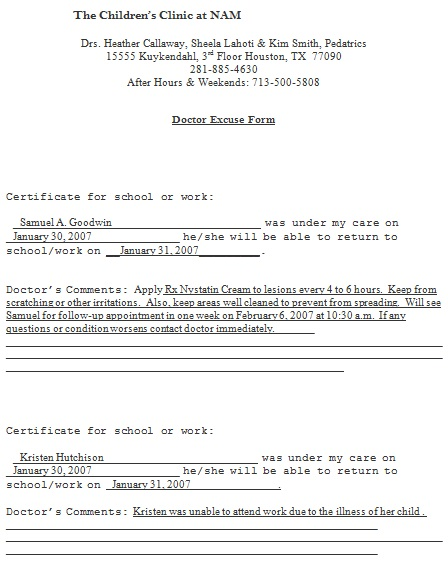 doctors note template 2