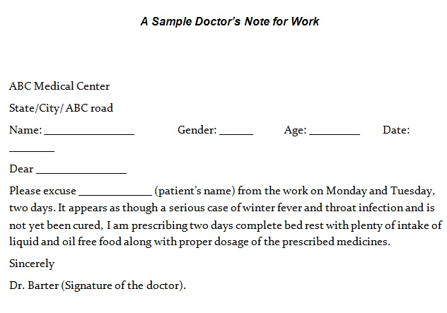 doctors note template 4