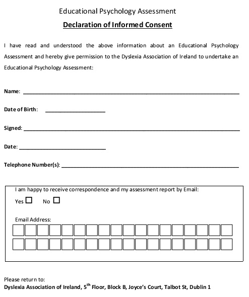 educational psychology assessment consent form