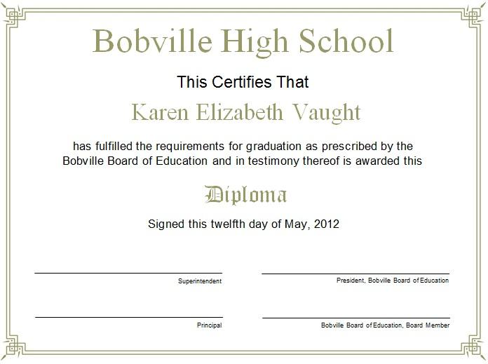 high school diploma template 16