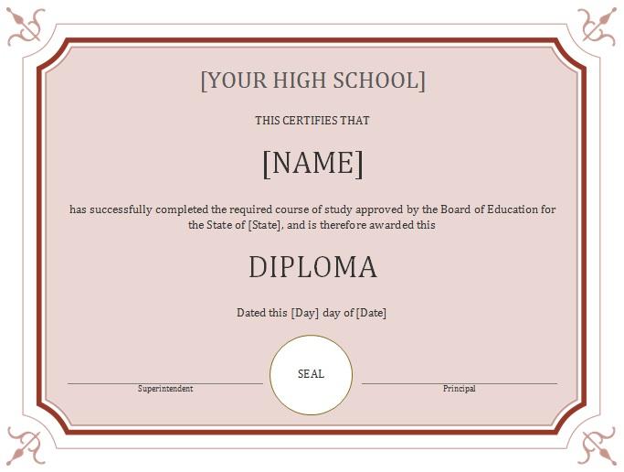 high school diploma template 25