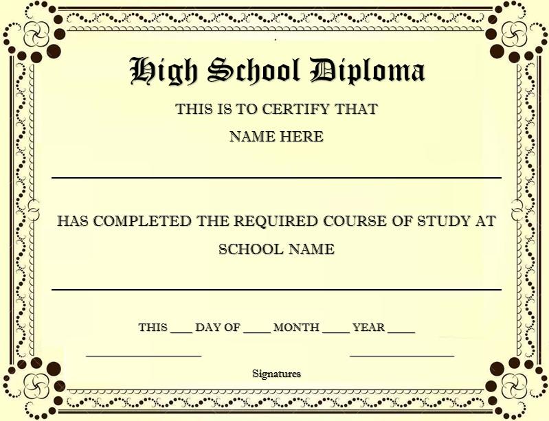 high school diploma template 28