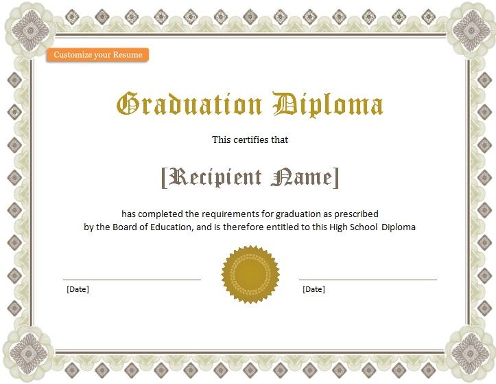 high school diploma template 5