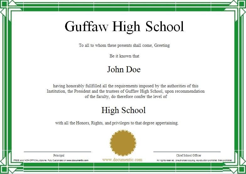 high school diploma template 8