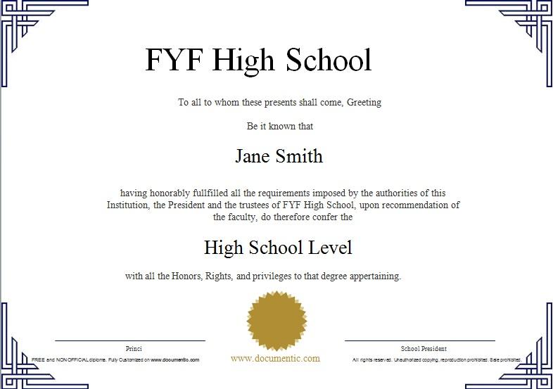 high school diploma template 9