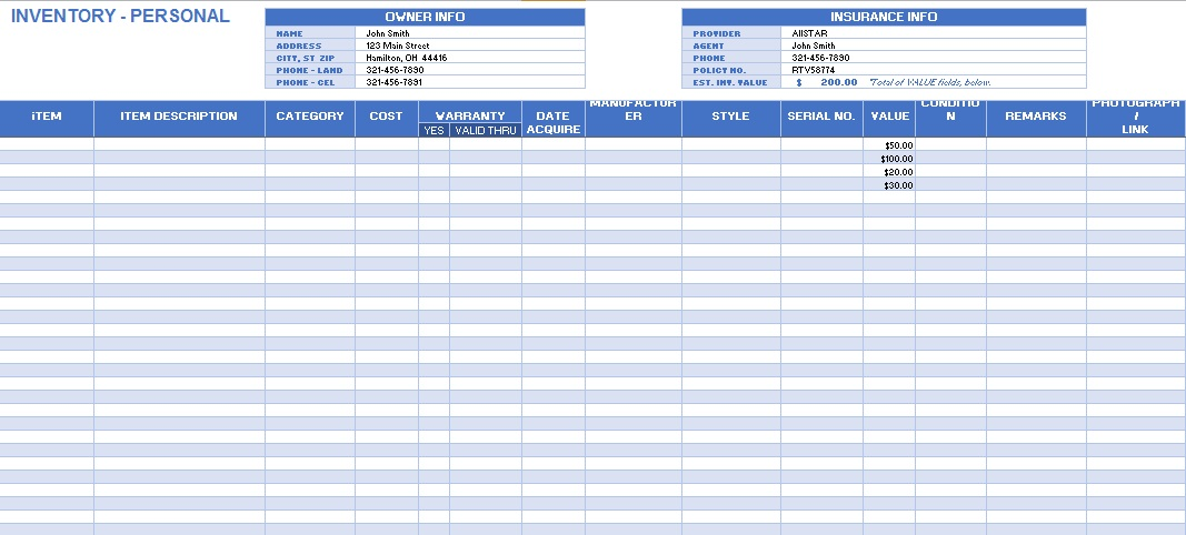 inventory spreadsheet template 8