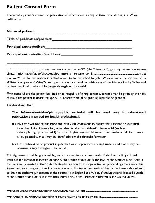 patient consent form
