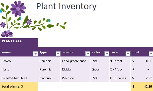 plant inventory spreadsheet template