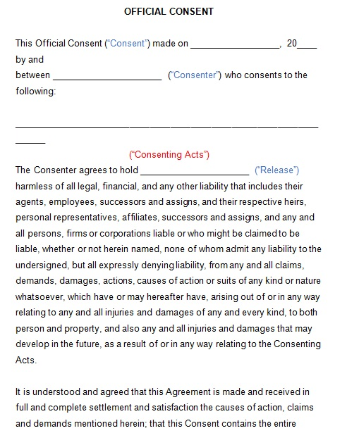 sample consent form template
