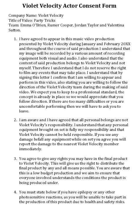 violet velocity actor consent form
