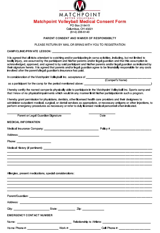 volleyball medical consent form