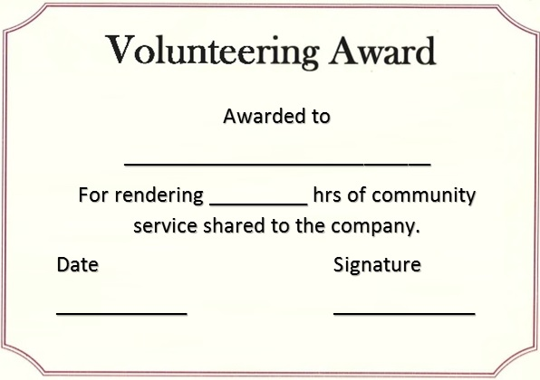 volunteering certificate template 1